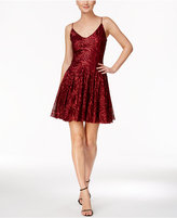 Betsey Johnson Sequined Open-Back Fit & Flare Dress