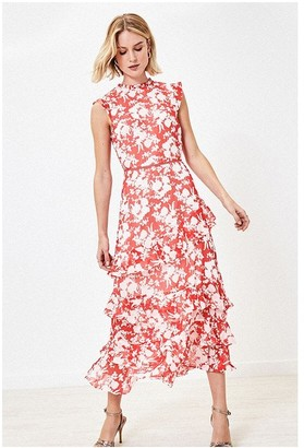 Oasis SHADOW FLORAL PIECRUST MIDI IN MULTI RED