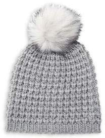 Lord & Taylor Chunky Knit Faux Fur Pom Hat