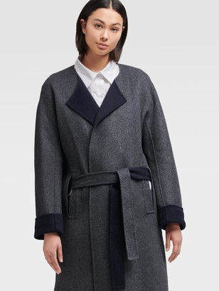 DKNY Double-faced Tie-waist Wool Coat