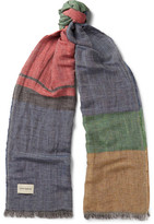Oliver Spencer Maratea Fringed Checked Linen-Blend Scarf