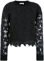 See by Chloe lace overlay sweater - women - Cotton/Silk - XS