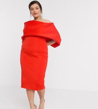 Asos DESIGN Curve fold front bardot midi pencil dress