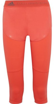adidas by Stella McCartney Run Cropped Paneled Coated Climalite And Mesh Leggings