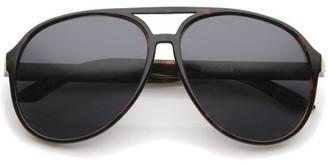 Sunglass.La Retro Large Protective Polarized Lens Aviator Sunglasses 60mm (Tortoise / Smoke Polarized)