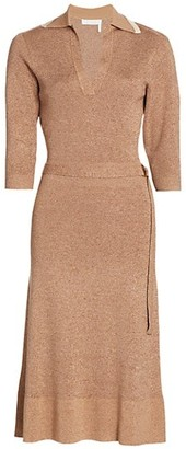 Chloé Belted Tweed Sheath Dress