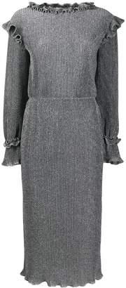 Alberta Ferretti metallic knit ruffled midi dress