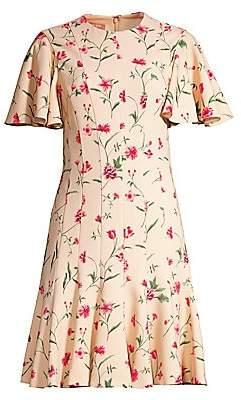 Michael Kors Women's Stemmed Floral Stretch Cady Sheath Dress