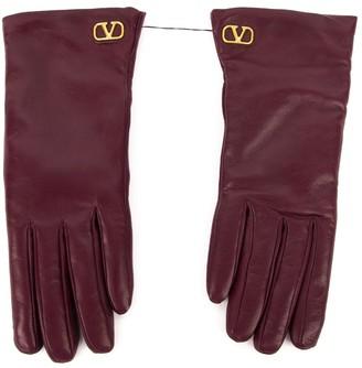 Valentino Vlogo Burgundy Leather Gloves
