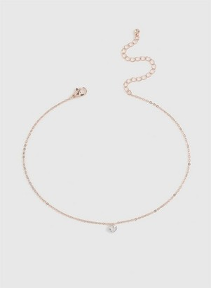Dorothy Perkins Womens Rose Gold Finish Heart Choker Necklace, Rose Gold