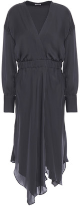Brunello Cucinelli Asymmetric Wrap-effect Silk-satin Midi Dress
