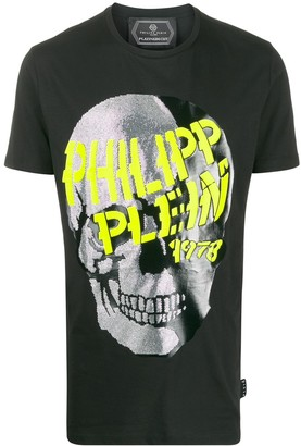Philipp Plein rhinestone skull logo T-shirt