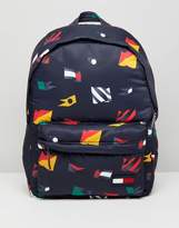 Tommy Hilfiger Nylon All Over Flag Backpack in Navy