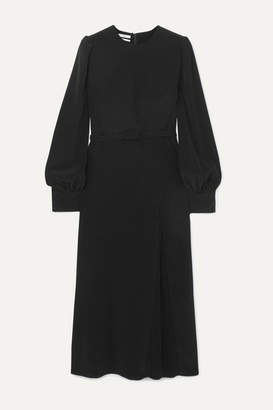 Co Belted Pleated Crepe Midi Dress - Black