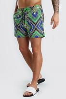 boohoo Mens Green Mid Length Swim Short In Baroque Print, Green