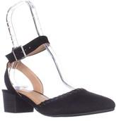 Esprit Espirt Saffron Pointed Toe Ankle Strap Block Heel Pumps, Black.