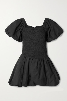 LoveShackFancy Asa Shirred Cotton-poplin Mini Dress - Black