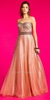 Camille La Vie Beaded Sunburst Tulle Evening Dress