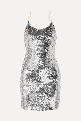 Alice + Olivia Giselle Sequined Tulle Mini Dress - Silver