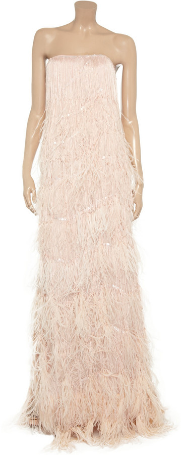 Oscar de la Renta Feathered silk-chiffon gown
