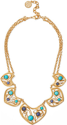 Ben-Amun 24-karat Gold-plated, Turquoise And Stone Necklace