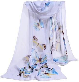 Doldoa Scarves Women's Soft Wrap Scarf Butterfly Printed Chiffon Shawl Scarves(White)
