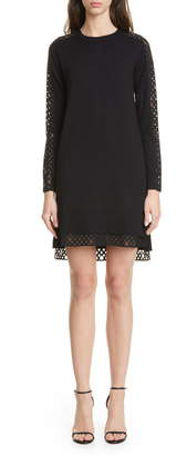 Akris Punto Organza Dot Long Sleeve Merino Wool Sweater Dress
