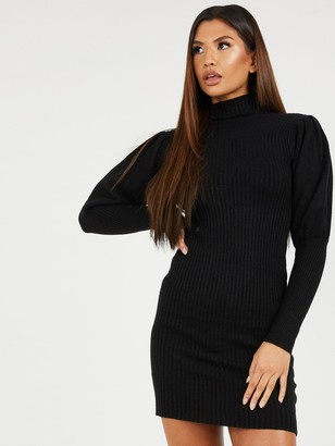 Quiz Black Knit Long Sleeve Midi Dress