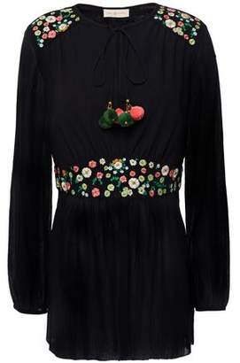 Tory Burch Fleur Embroidered Crinkled Cotton And Linen-blend Tunic