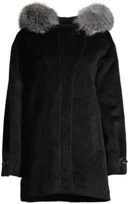 Sofia Cashmere Boston Fox Fur-Trim Alpaca & Wool-Blend Parka