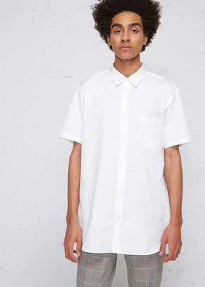 Comme des Garçons Shirt Men's Double Button Short Sleeve Shirt in White Size Large 100% Cotton
