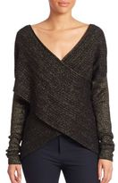 Derek Lam 10 Crosby Long Sleeve Cross-Front Sweater