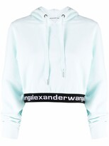 Thumbnail for your product : alexanderwang.t Logo Waistband Cropped Hoodie