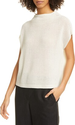 Eileen Fisher Funnel Neck Cropped Boxy Shirt