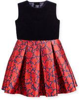 Oscar de la Renta Sleeveless Velvet & Mikado Dress, Navy/Ruby, Size 4-14