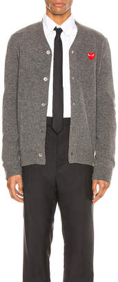 Comme des Garcons Lambswool Cardigan with Red Emblem in Medium Grey   FWRD