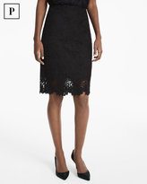 White House Black Market Petite Floral Lace Pencil Skirt