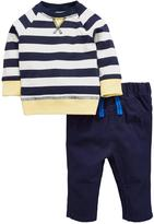 Ladybird Baby Boys Stripe L/s Tee And Woven Trouser Set