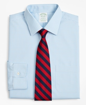 Brooks Brothers Stretch Milano Slim-Fit Dress Shirt, Non-Iron Ainsley Collar Gingham