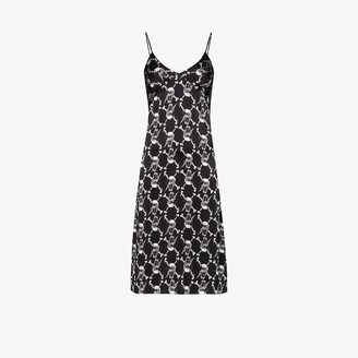 Ashley Williams Skull Print Silk Midi Dress