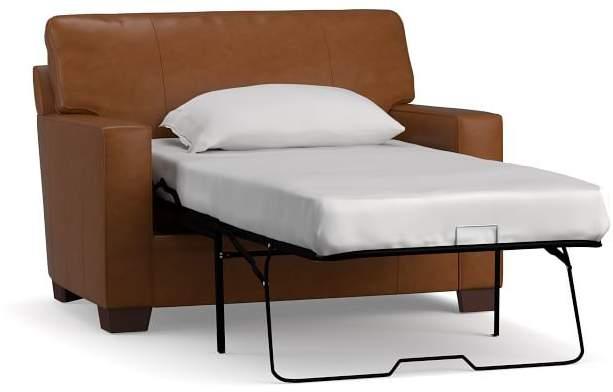 Pleasant Buchanan Square Arm Leather Twin Sleeper Sofa Dailytribune Chair Design For Home Dailytribuneorg