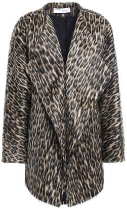 IRO Mess Leopard-print Brushed Wool-blend Coat