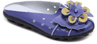 Rumour Has It Women's Mules Sapphire - Sapphire Blue Floral Accent Leather Mule - Women