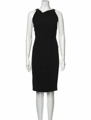 Roland Mouret V-Neck Knee-Length Dress Black