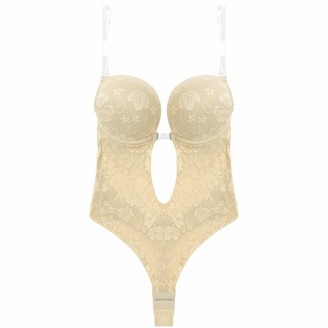 Freebily Womens Adjustable Clear Shoulder Straps U Plunge Backless Body Shapewear Underwire Padded Push Up Lace Bodysuit Bridal Thong Shaper Khaki 38C 38D 40B 40D
