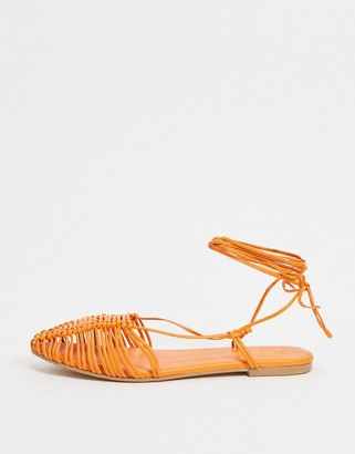 ASOS DESIGN Limes premium leather ballet flats with ankle tie in orange