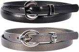Sunny Belt Women's 2 For 1 Skinny Oval Buckle Faux Leather Fashion Belts