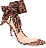 Gianvito Rossi Leopard Ankle-Wrap Sandals
