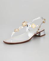 Prada Metallic Floral Sandal