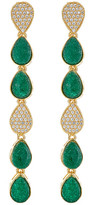 Forever Creations Usa Inc. Forever Creations Gold Over Silver 24.00 Ct. Tw. Emerald & Simulated Diamond Drop Earrings